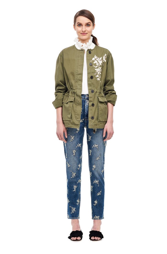 La Vie Embroidered Twill Military Jacket - Trooper