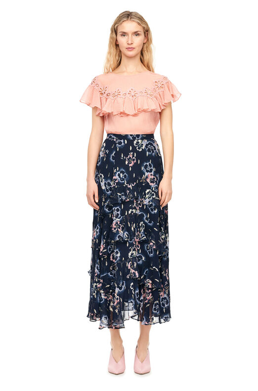 Faded Floral Metallic Clip Skirt - Navy