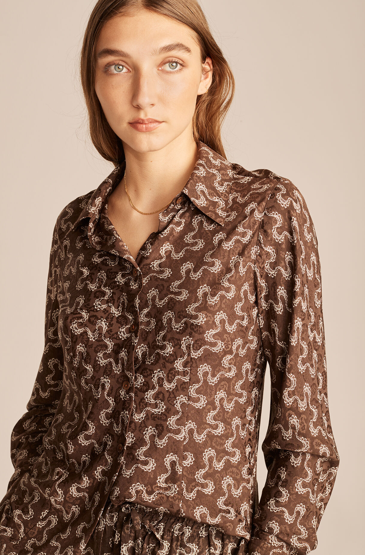 Chantilly Wave Button Down-ChocolateCombo