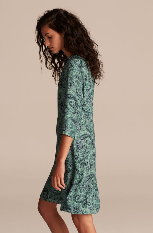 Tailored Margaux Paisley Dress, Jade Combo, large
