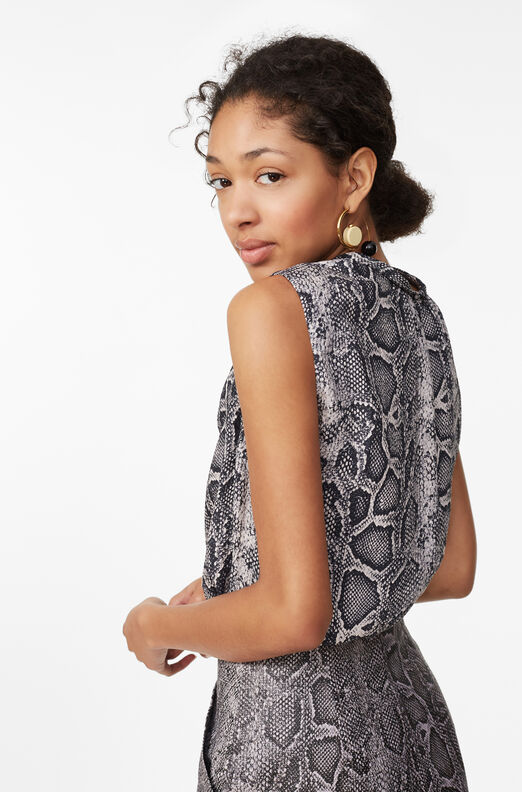 Snake Print Silk Knot Neck Top