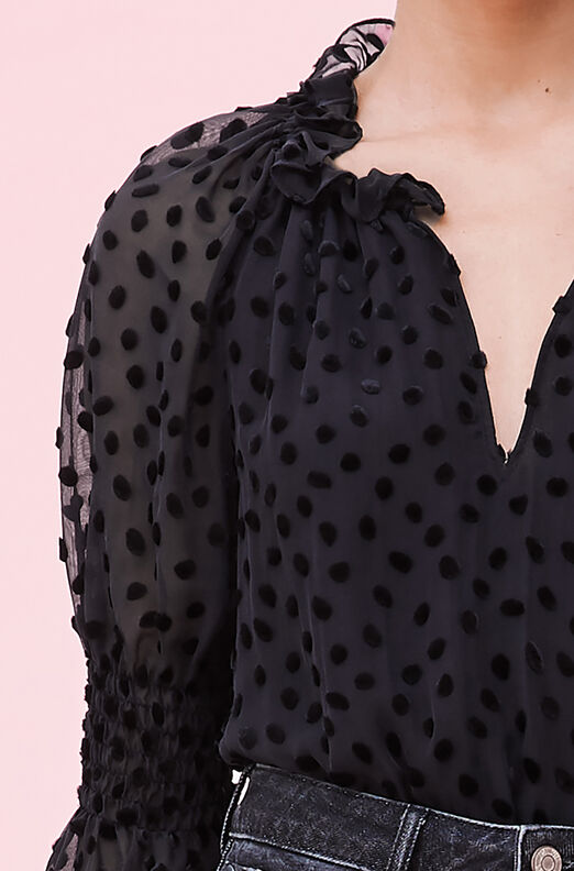 Velvet Dot Jacquard Top