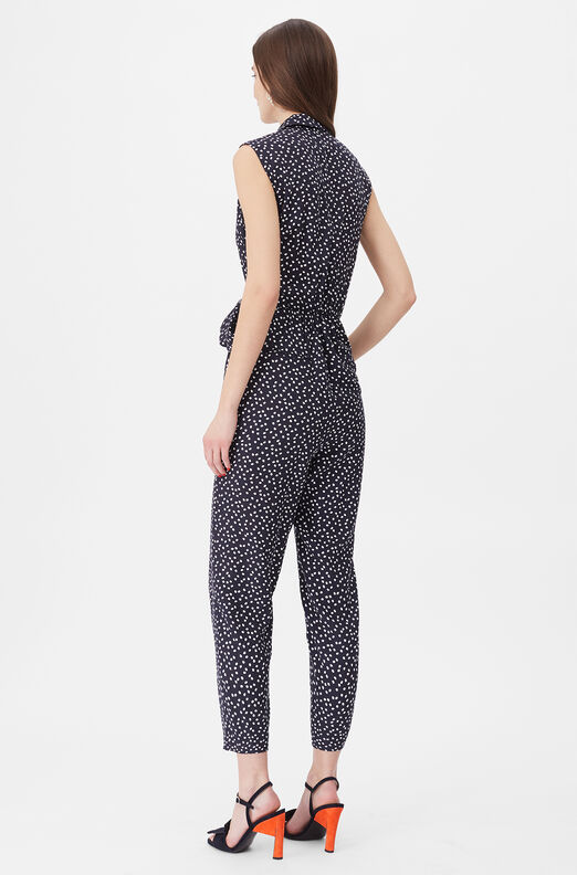 Tailored Pearl Dot Jacquard Jumpsuit