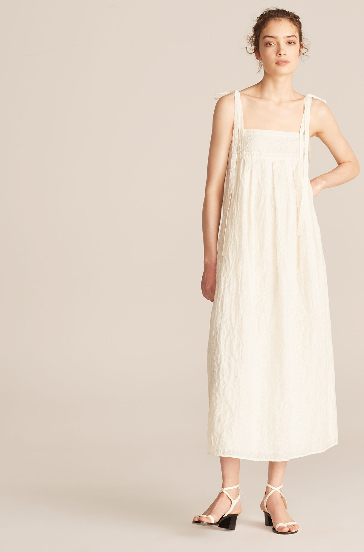 Long Allegra Tile Embroidery Tie Dress, Snow, large