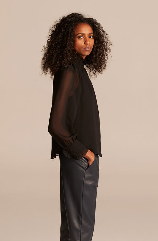 Long Sleeve Chiffon Blouse, Black, large