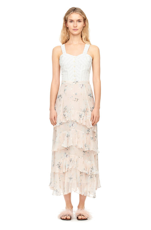 Faded Floral Metallic Clip Skirt - Stone