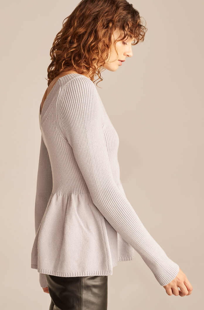 Scoop Neck Peplum Pullover, Pale Lilac, large
