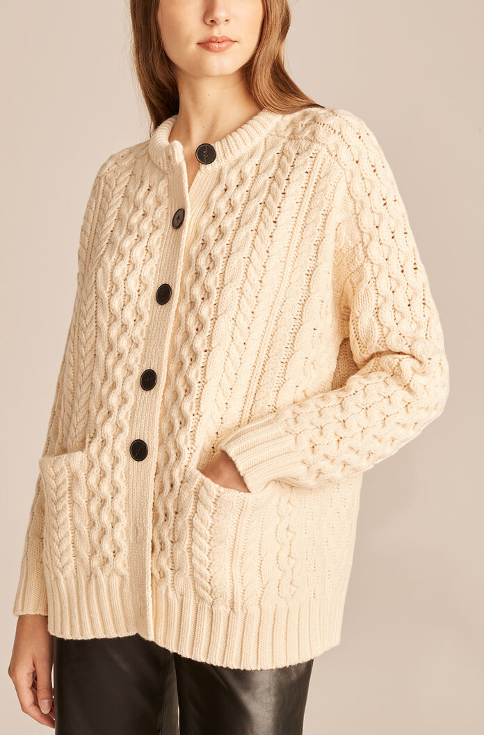 Cable Knit Oversized Cardigan, Pearl, large