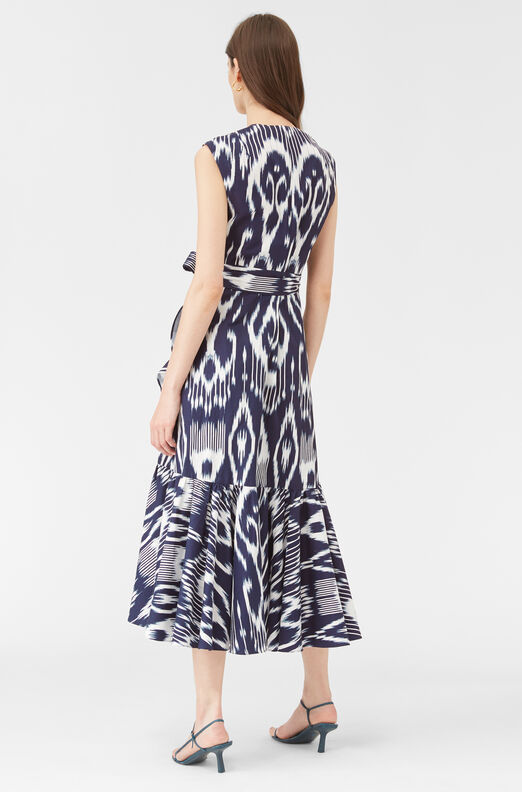 Indigo Ikat Wrap Dress, Indigo Combo, large