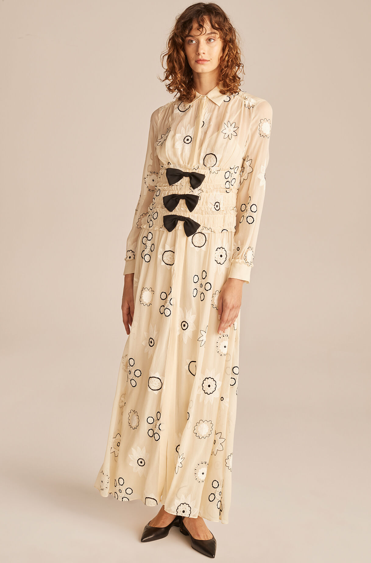 Parasol Embroidered Bow Dress-Shell