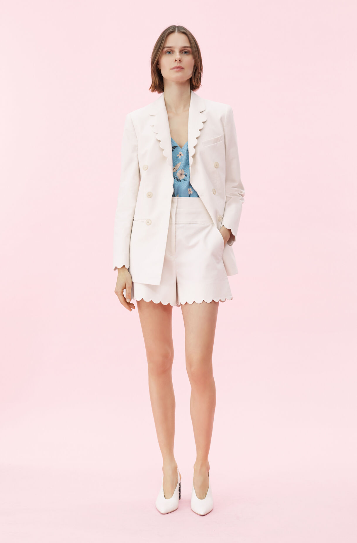 Scalloped Suiting Blazer, , large