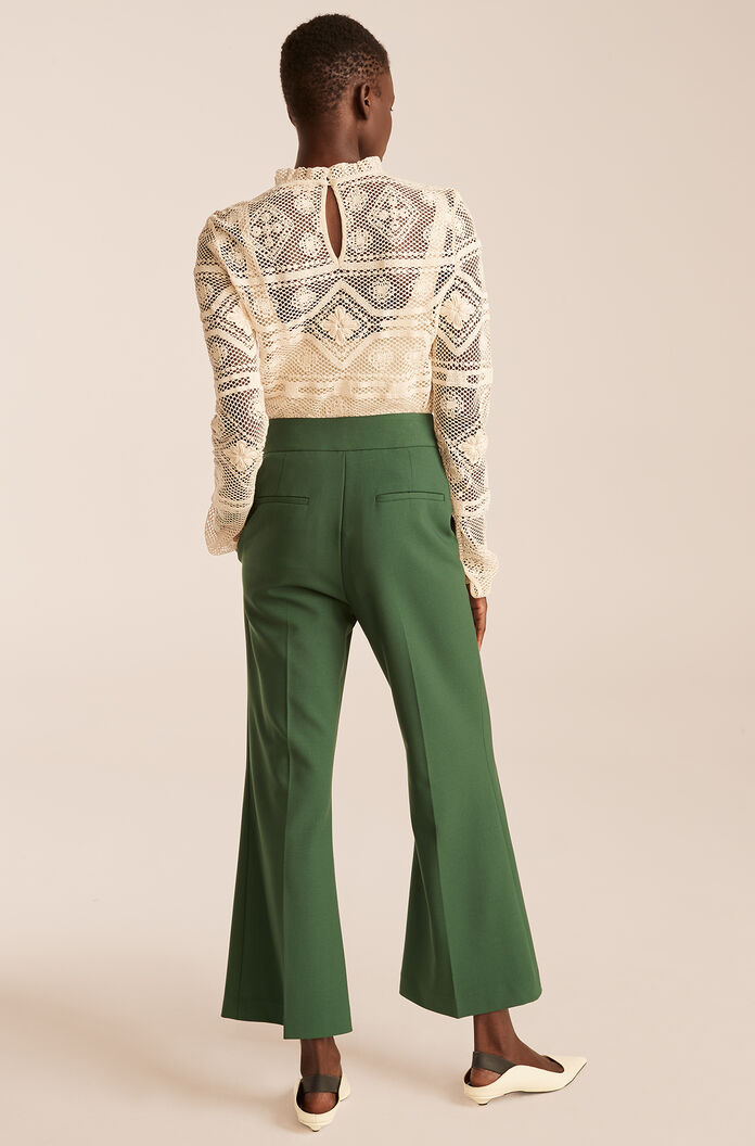 Cropped Flare Trouser, Dark Emerald, large