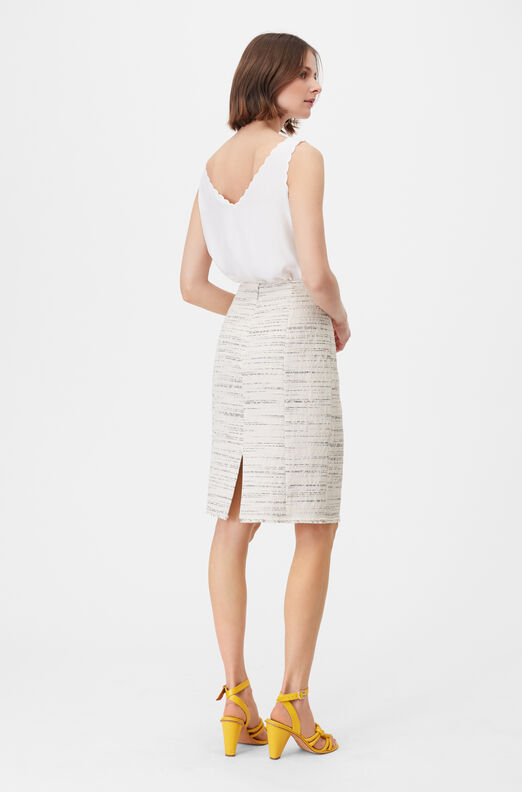 Tailored Textured Tweed Pencil Skirt