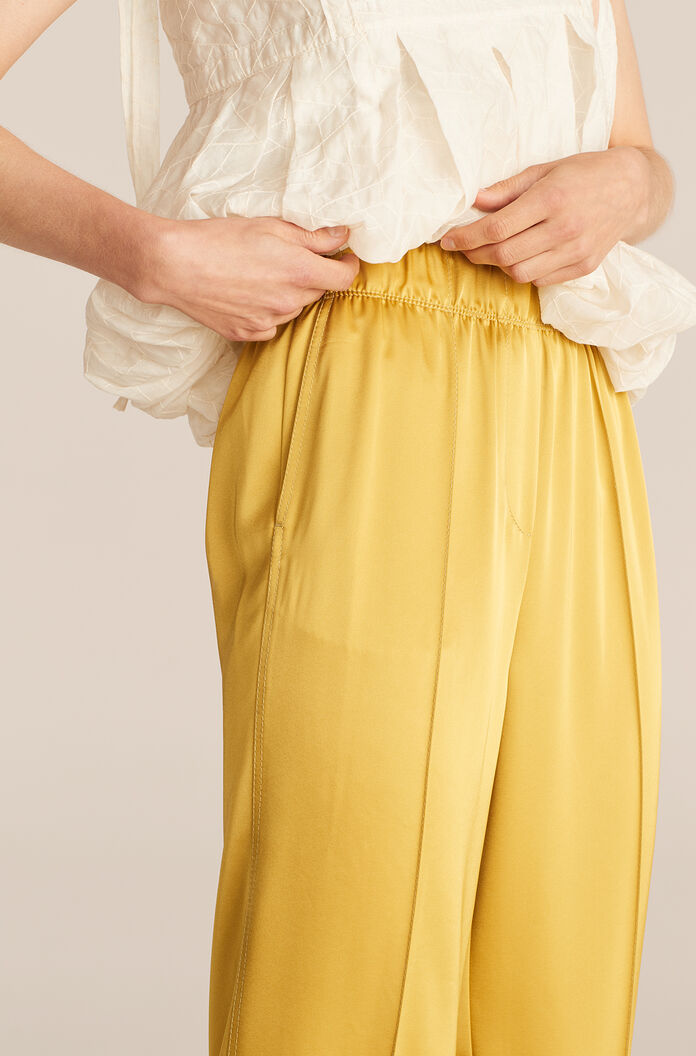 Satin Pull On Pant, Chartreuse, large