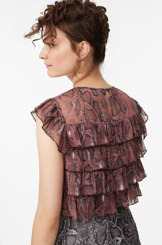 Snake Print Tiered Ruffle Top