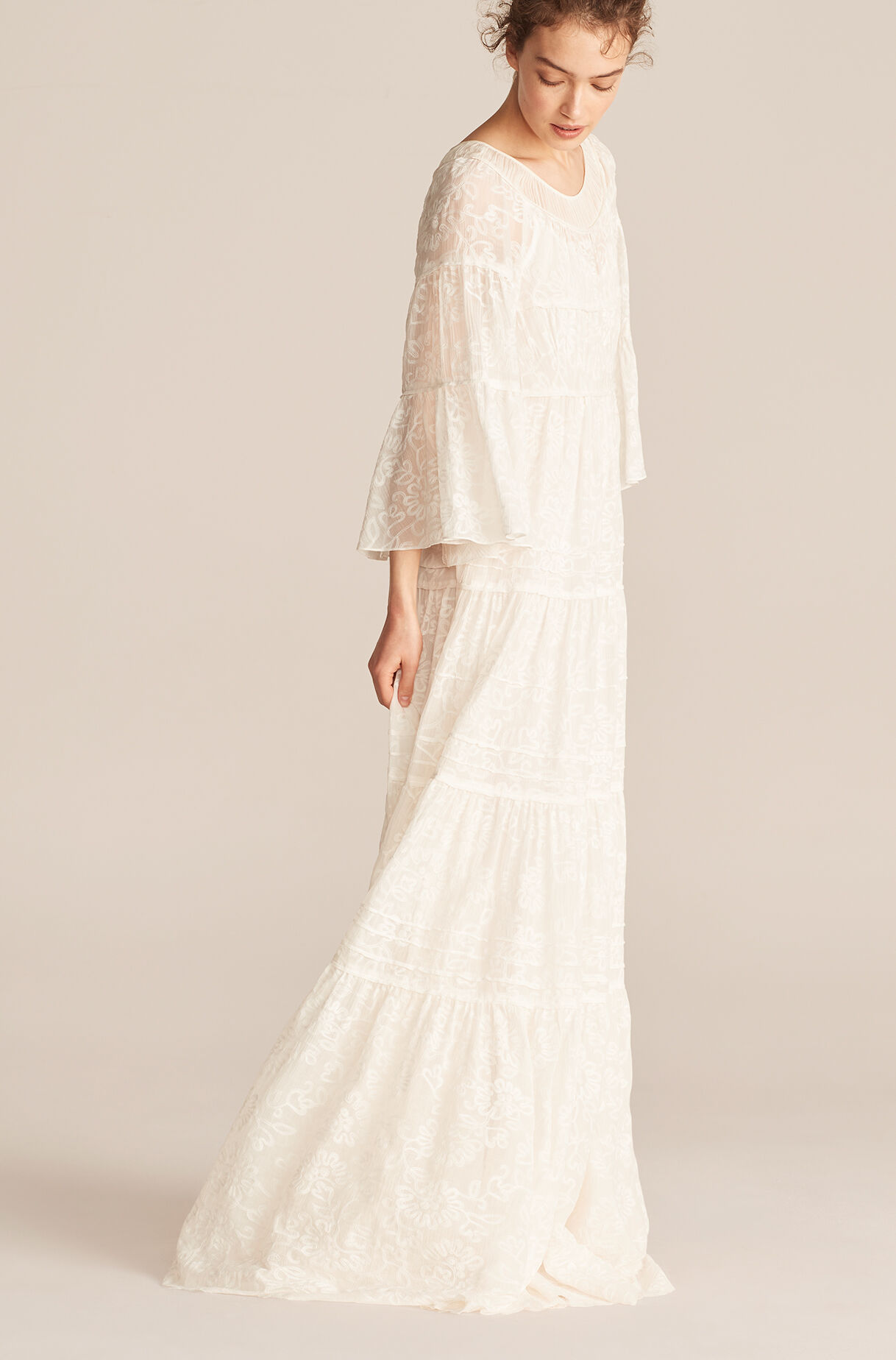 Tallulah Embroidery Ruched Tier Dress, Snow, large