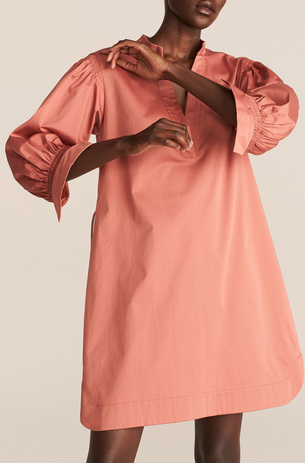 Long Sleeve Twill Belted Dress, , large