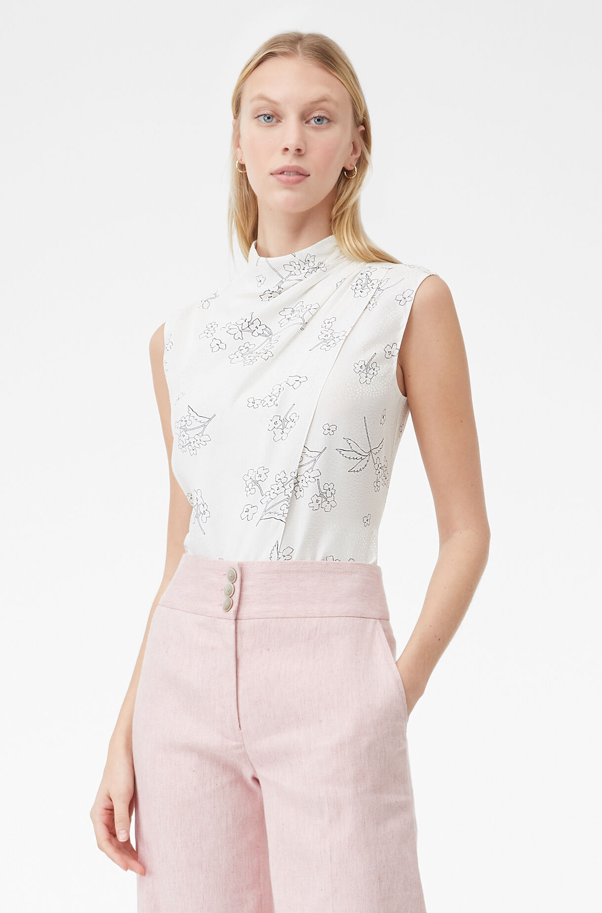 Tailored Silhouette Floral Top, , large