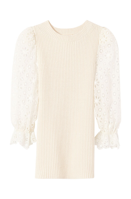 Eyelet Sleeve Pullover