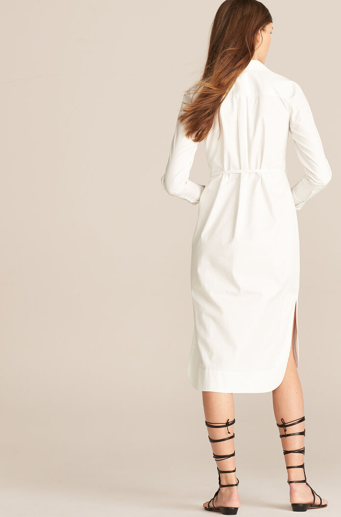 Longsleeve Compact Twill Dress, Milk, large