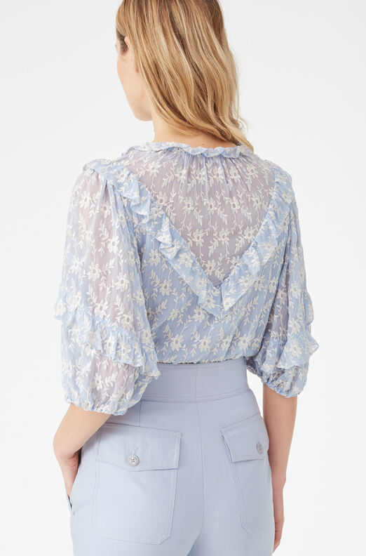 Floral Vine Embroidered Ruffle Top