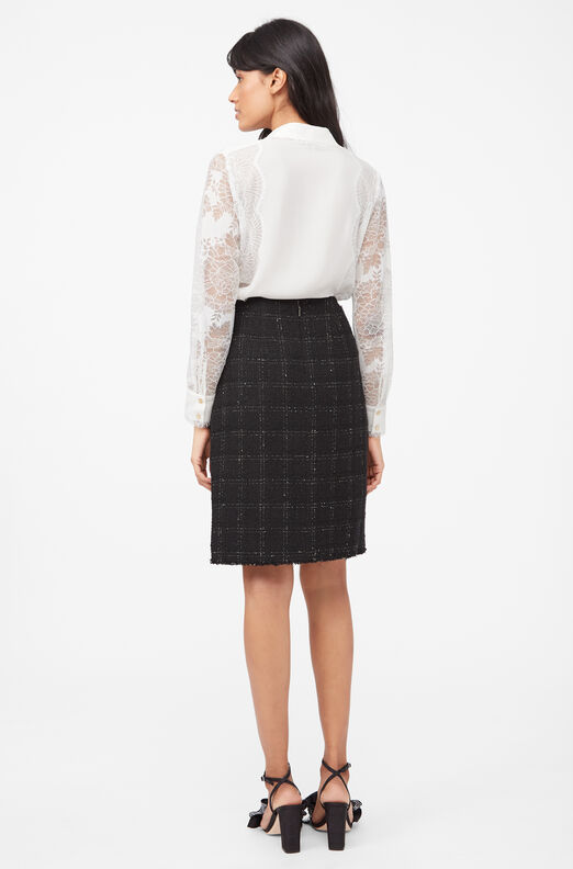 Tailored Textured Tweed Skirt