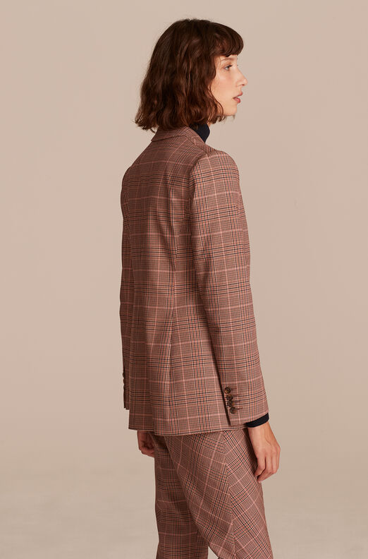Plaid Suiting Jacket, Camel Rose, large