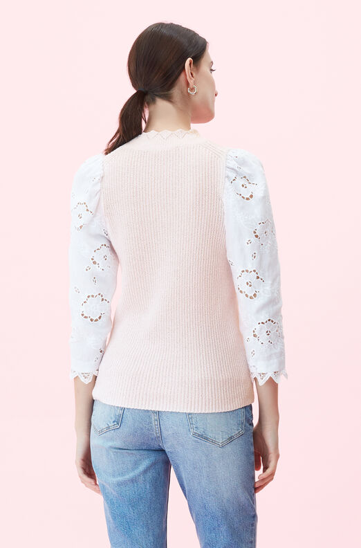 Crimp Cotton Eyelet Sleeve Pullover
