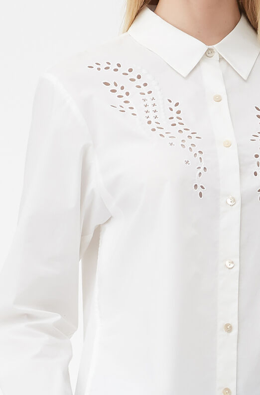 Tailored Embroidered Poplin Top, Milk, large
