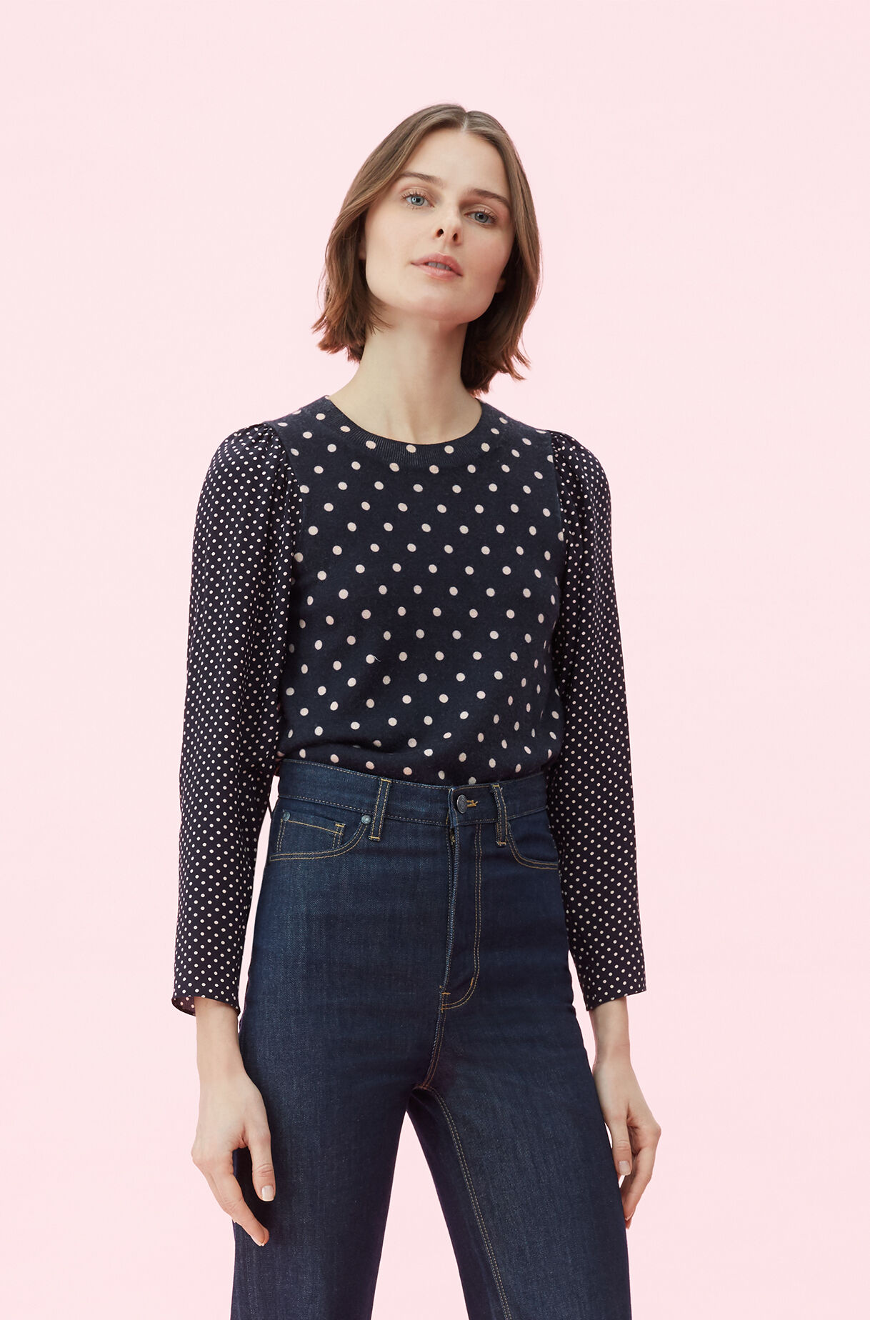 Silk Sleeve Dot Print Pullover