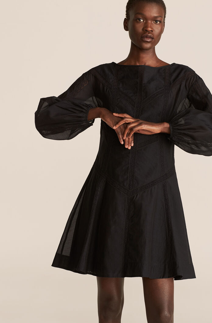 Longsleeve Cotton Organza Dress, Black, large