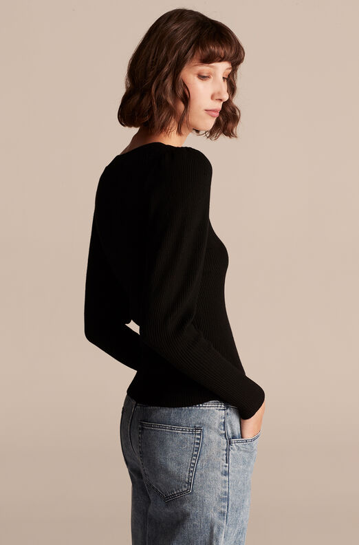 Merino Wool U Neck Sweater, Black, large