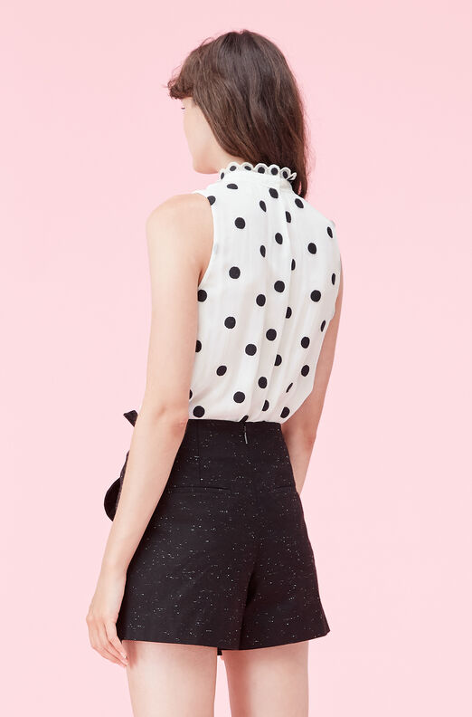 Dot Embroidered Mock Neck Top