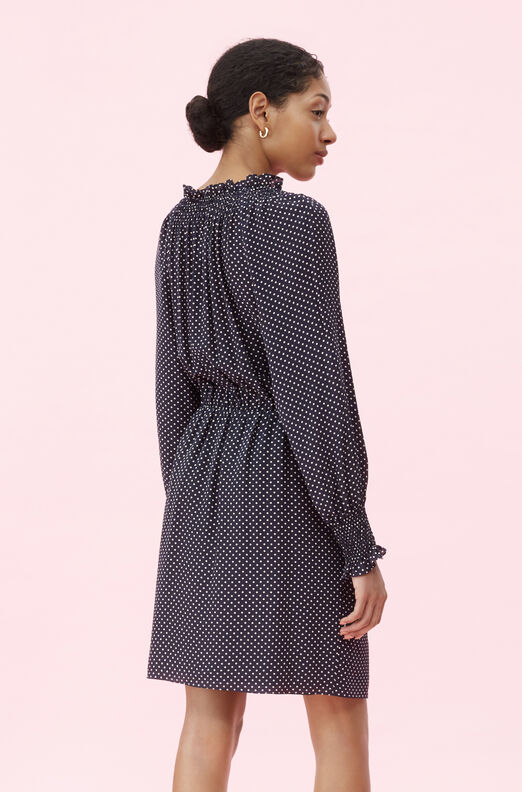 Dot Print Tie Front Dress