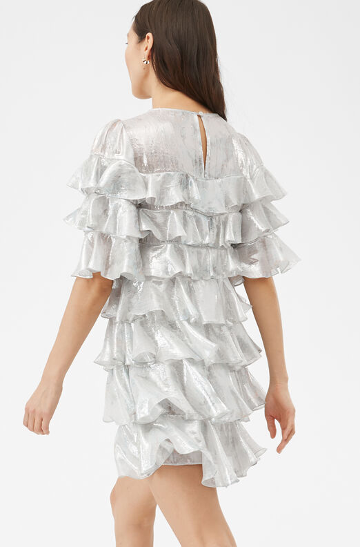 Shadow Lily Ruffle Dress, Snow Combo, large