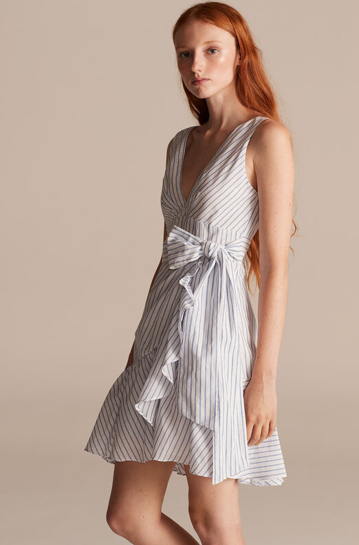 Pinstripe Wrap Dress, Milk/sky, large