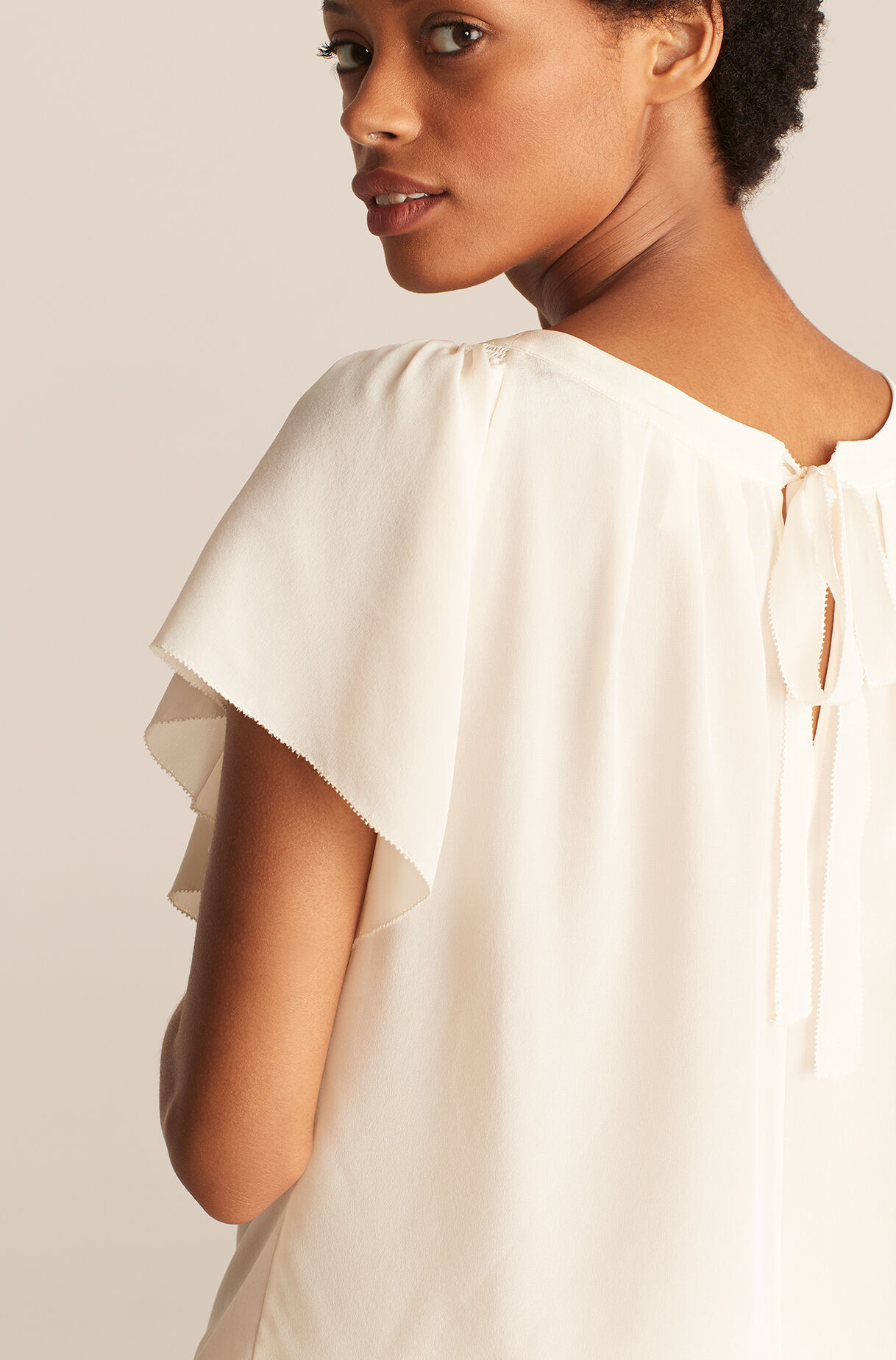 Ruched Round Neck Blouse-NewIvory