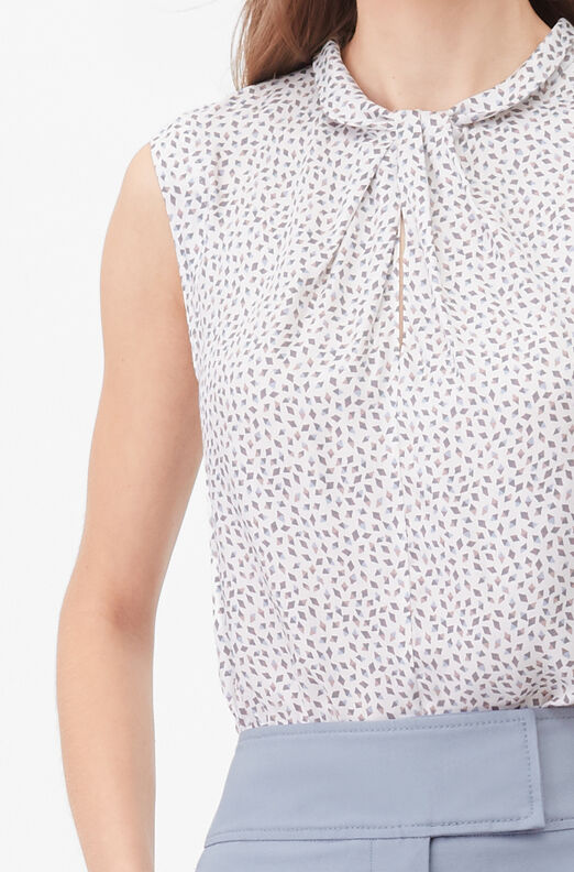 Tailored Pyramid Print Knot Neck Top