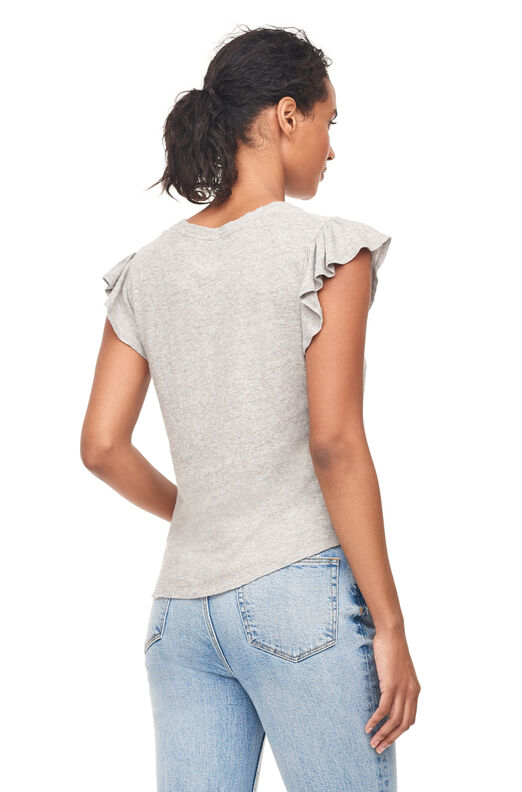 La Vie Washed Textured Jersey Tee, Grey Heather, large