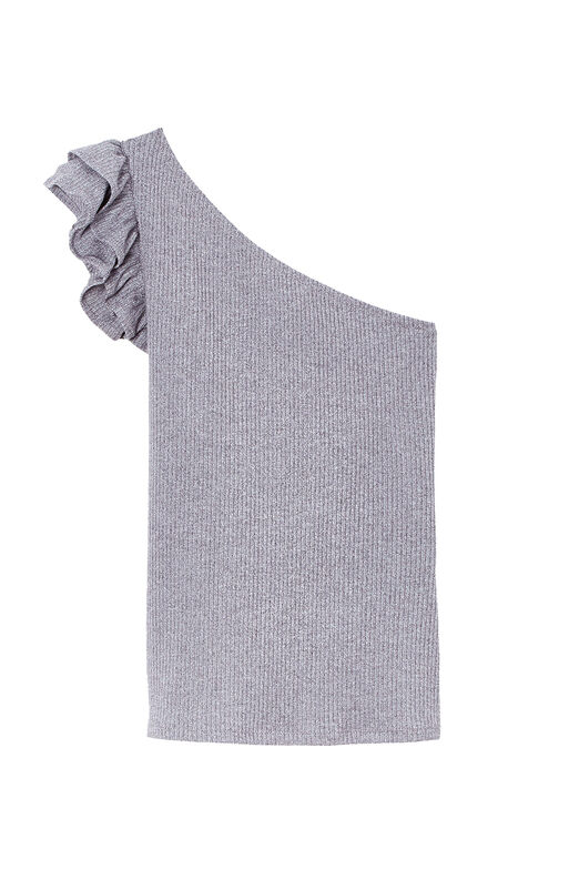 One-Shoulder Ribbed Jersey Top