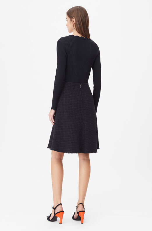 Tailored Midnight Tweed Skirt