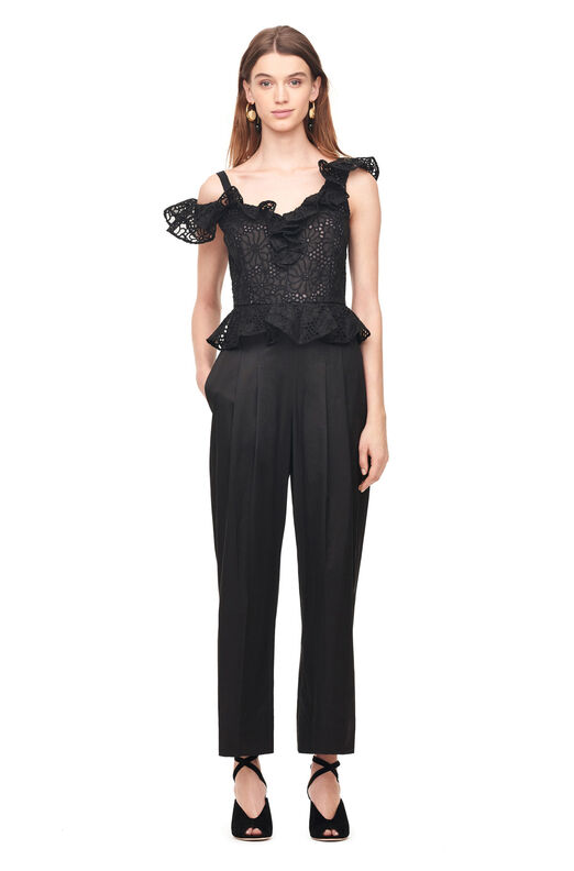 Malorie Embroidery & Sateen Jumpsuit - Black