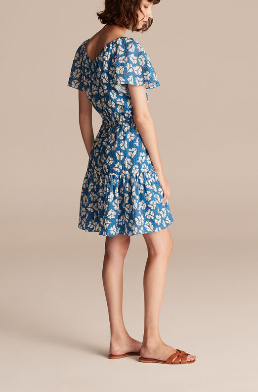 Perla Petal Flutter Sleeve Dress, Shore Blue Combo, large