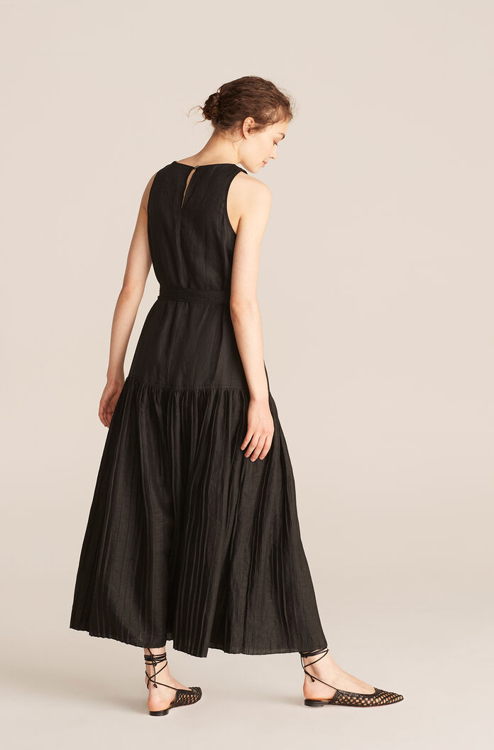 Belted Long Dress, Black, large