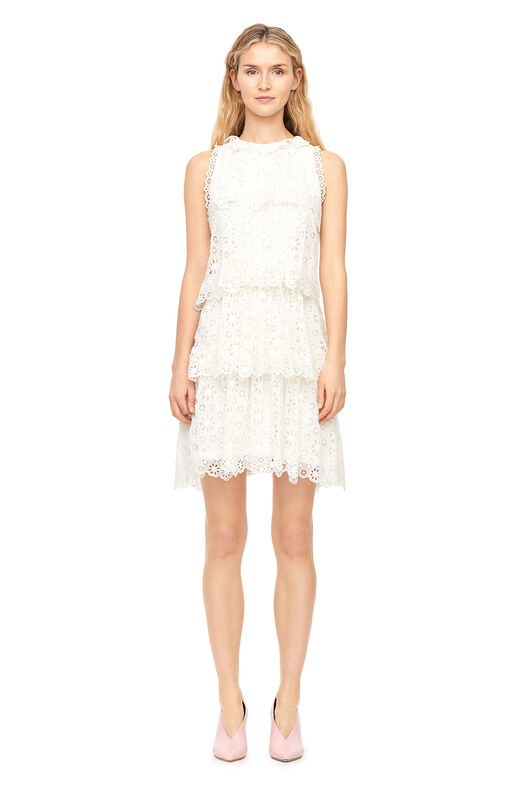 Pinwheel Eyelet Tiered Dress - Snow