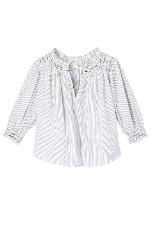 La Vie Striped Smocked Top