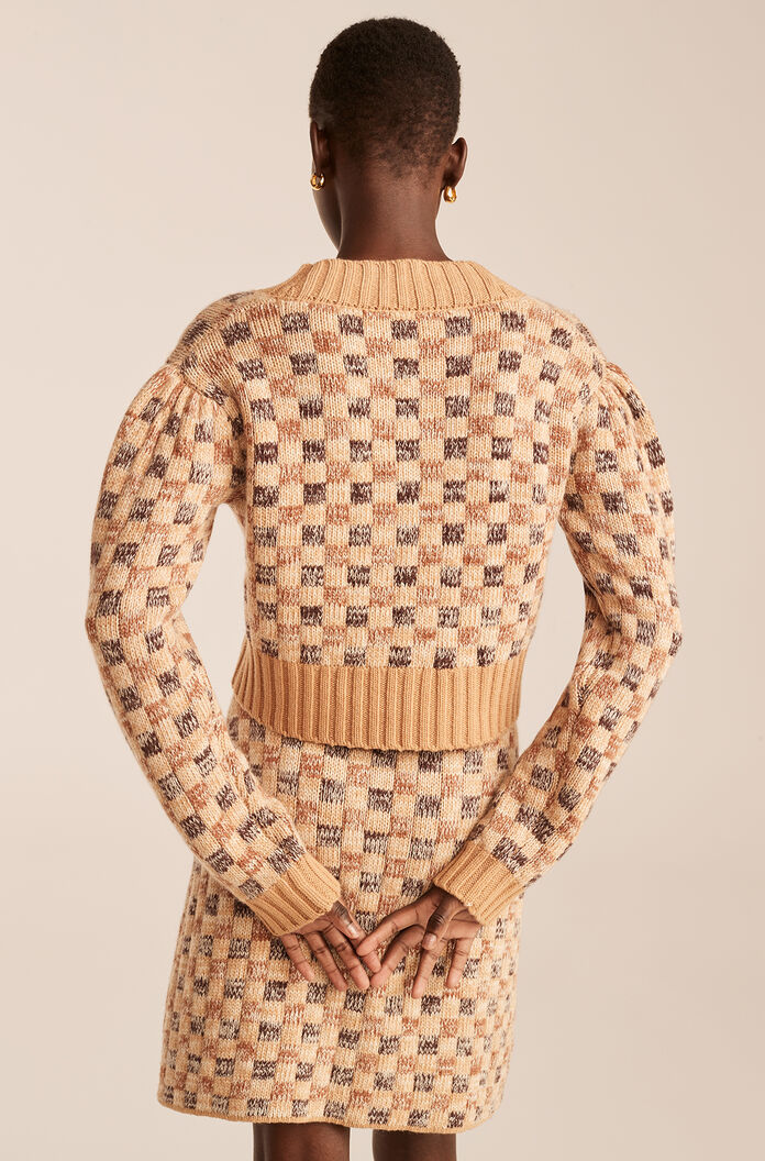 Cropped Checkerboard Jacquard Cardigan, Honey Checkerboard, large