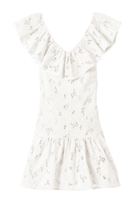Adriana Embroidered Ruffle Dress