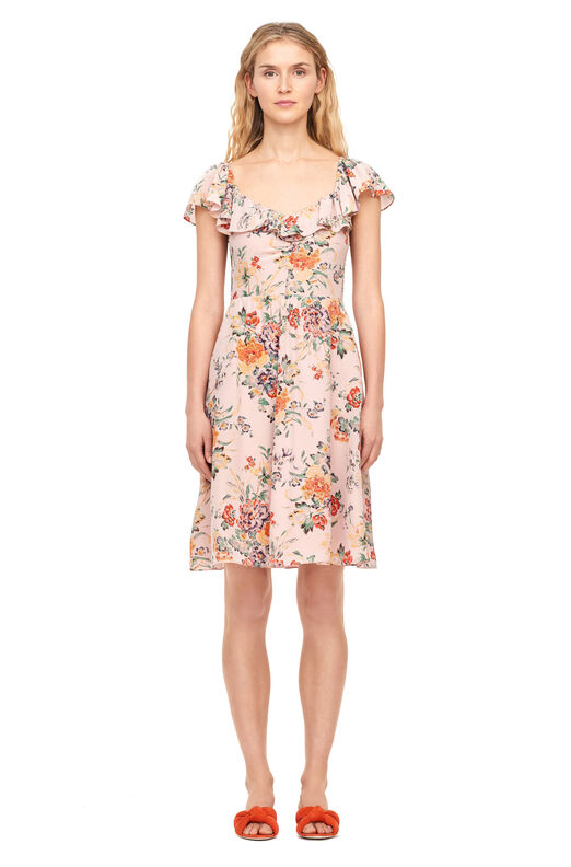 Marlena Floral Silk Ruffle Dress - Dusty Rose Combo