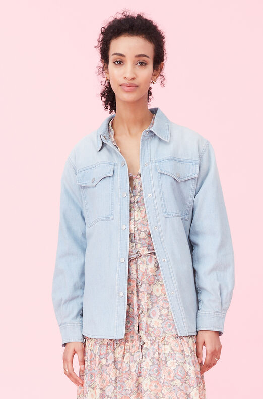 La Vie Drapey Denim Jacket, Clair Wash, large